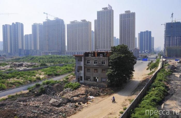 Китайская семья  живет посреди магистрали (4 фото)