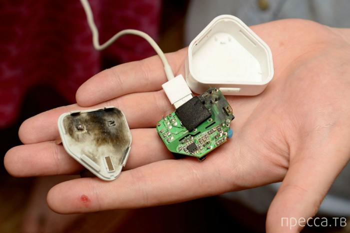 Зарядное устройство для планшета взорвалось в руке британца (4 фото)