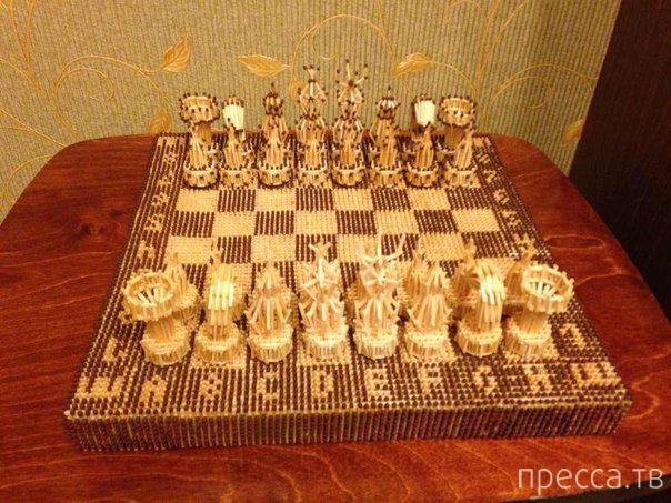 Необычные шахматы из спичек (5 фото)