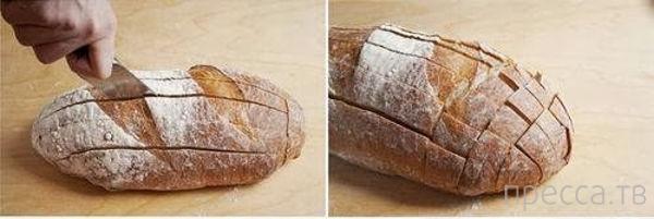 Буханка хлеба, кусок сыра, зеленый лук - и закуска готова (3 фото)