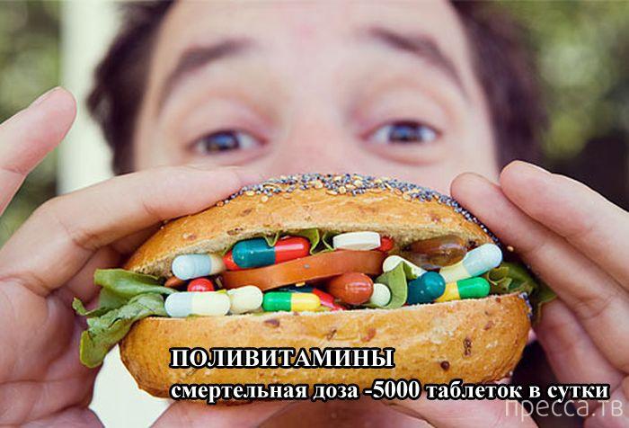 Дозы, которые могут быть смертельными для человека (9 фото)