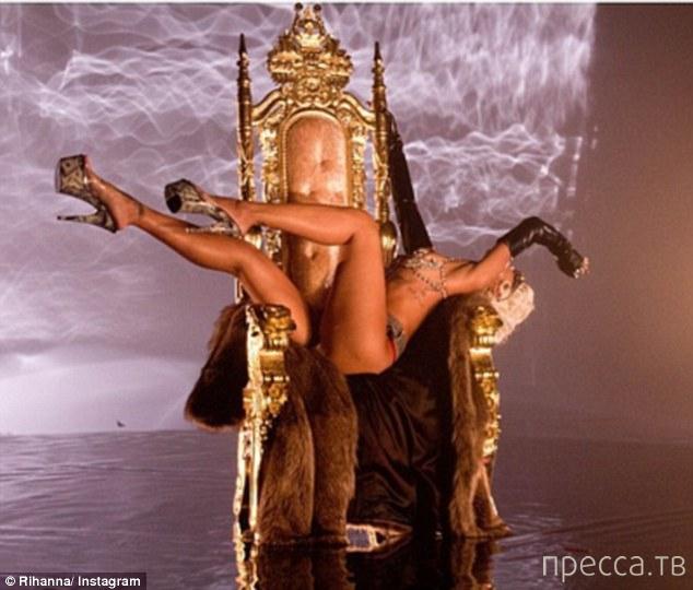 Откровенная фотосессия Рианны со съемок нового клипа  (16 фото + видео)