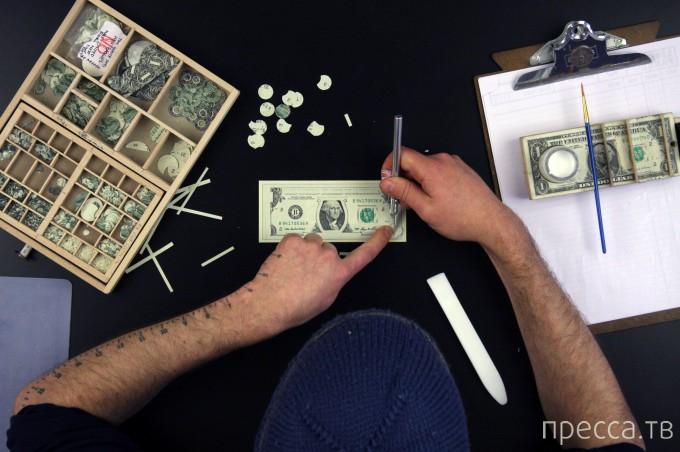 Денежные коллажи из однодолларовых купюр от Марка Вагнера (14 фото)