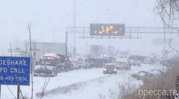 Америку завалило снегом... Водители в шоке от пробок