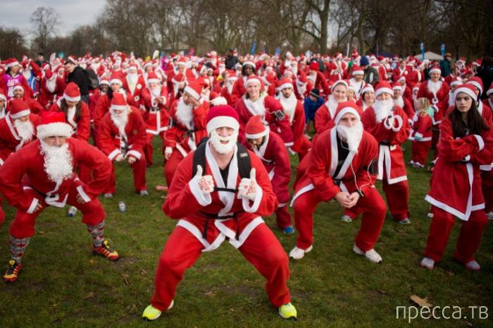 Забег Санта Клаусов в Лондоне в Виктория Парке (12 фото)