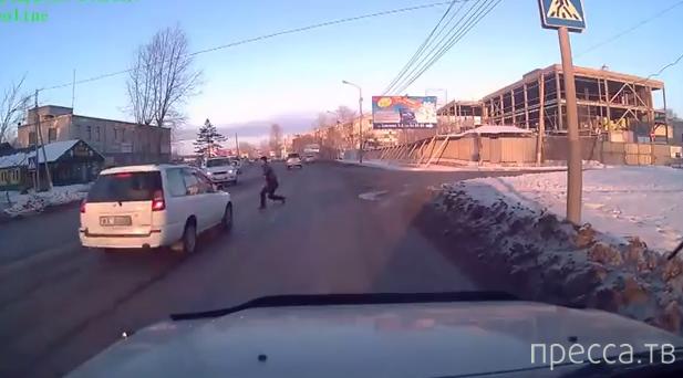 Повезло... Пешеход успел отскочить