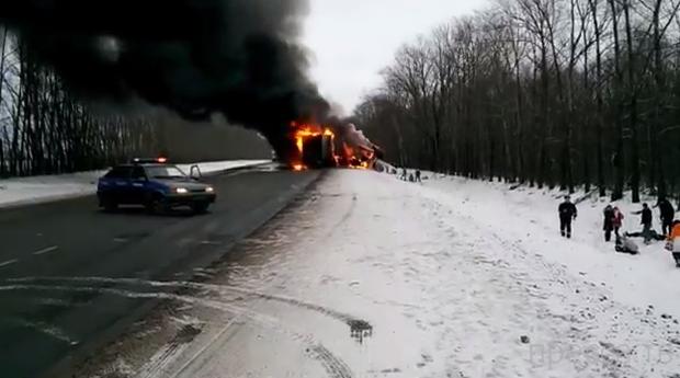 Жесть!!! В автобусе заживо сгорели восемь человек!!! ДТП около г. Нижний Ломов, Пензенская область