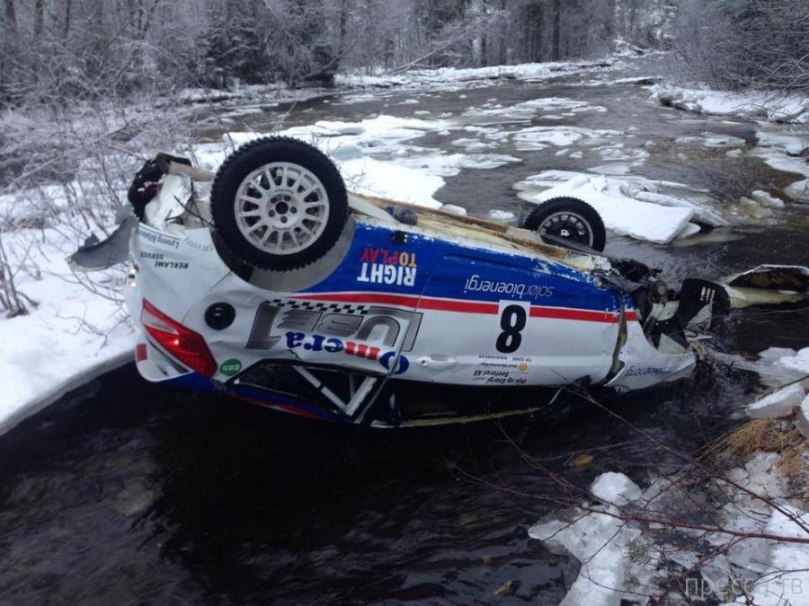 Мариус Aasen - большая авариия на Sigdalsrally 2014