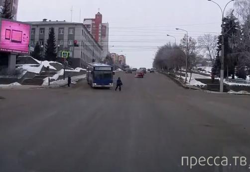 Чуть не попала под автобус... Повезло!