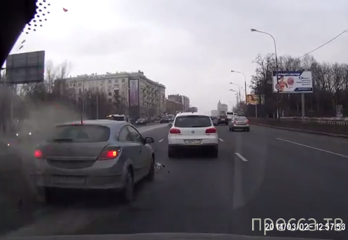 Зазевался и влетел в стоящую машину... ДТП на Можайском шоссе, г. Москва