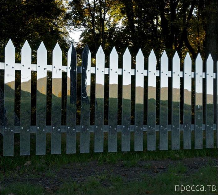 Зеркальный забор (8 фото)
