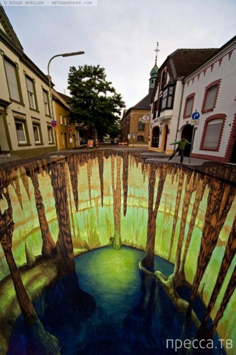 Впечатляющие 3D рисунки на асфальте (29 фото)