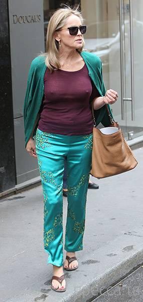 Шэрон Стоун не надела бюстгальтер под прозрачную блузку (25 фото)