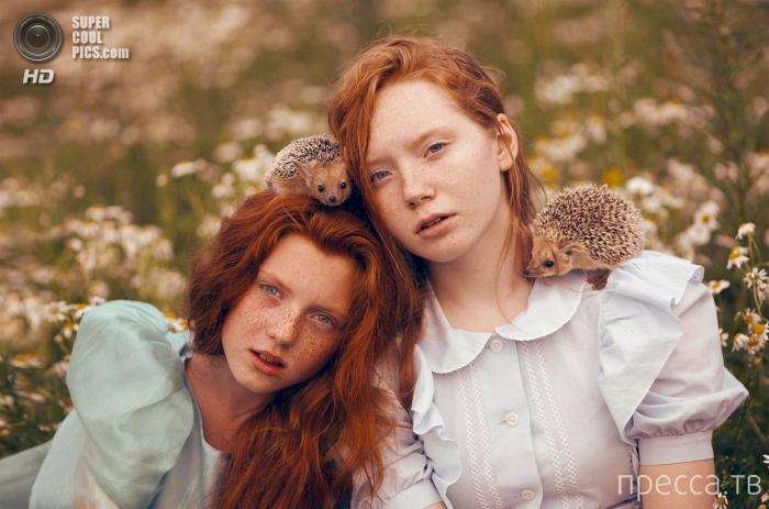Девушки и животные - фотографии от Екатерины Плотниковой (9 фото)