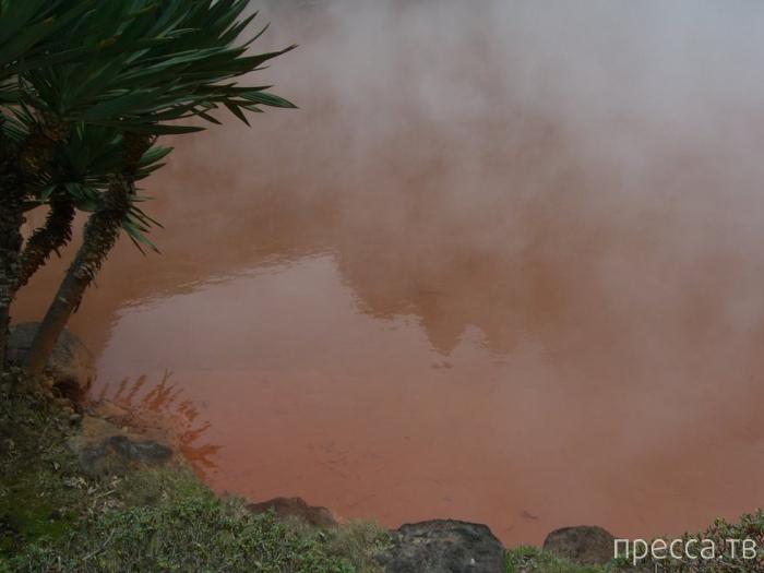 Кровавое озеро в Японии (7 фото)