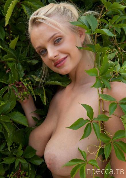 Симпатичная блондинка с большой  натуральной грудью (11 фото)