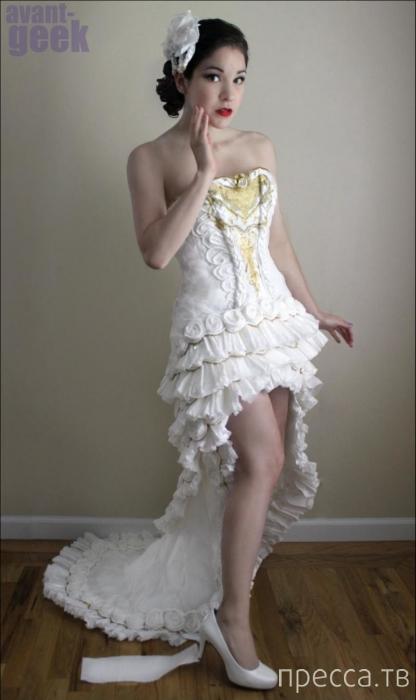 Свадебное платье из туалетной бумаги (5 фото)