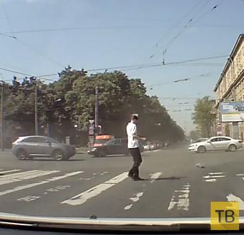 Повезло! Пешеход успел отскочить...