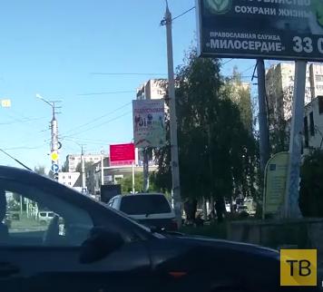 """""""Культурная"""" реакция таксиста на неадекватного водителя... ДТП в г. Смоленск"""
