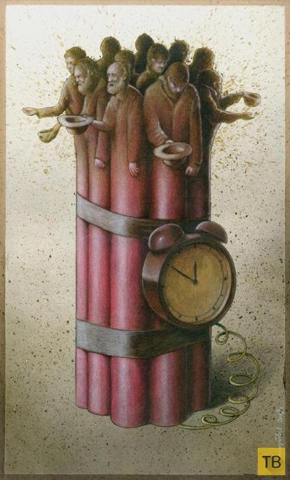 Сатирические рисунки польского художника Павла Качински (23 фото)