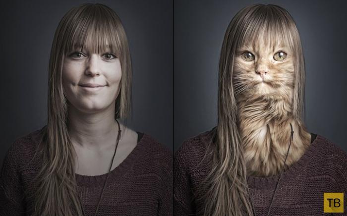 Креативные фото кошек и их хозяев от швейцарского фотографа Себастьяна Манани (14 фото)