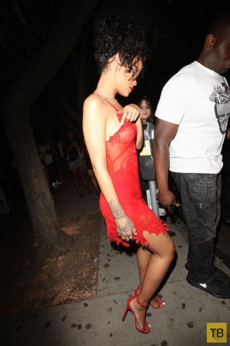 Рианна уходит с вечеринки в прозрачной красной ночнушке (9 фото)