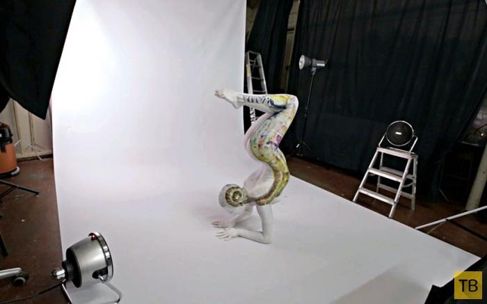Гибкая модель превращается в тарантула (13 фото)