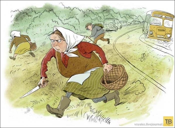 Веселые карикатуры московского художника-иллюстратора Ольги Громовой (38 фото)