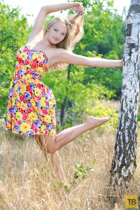 Красивая блондинка на лесной полянке... (15 фото)