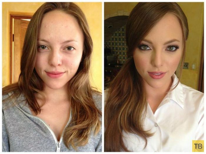 Девушки до и после макияжа (19 фото)
