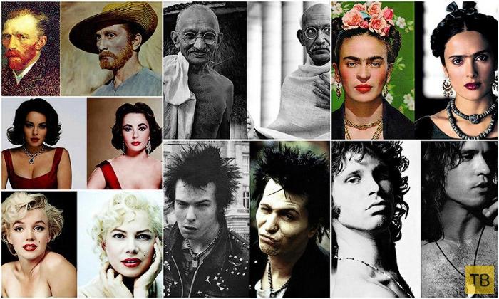 Знаменитости и актеры, воплотившие их образ на экране (38 фото)