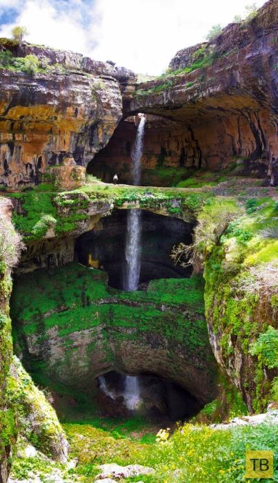 Пещера «Пропасть трёх мостов» и водопад «Глотка Баатары» в Ливане (7 фото)