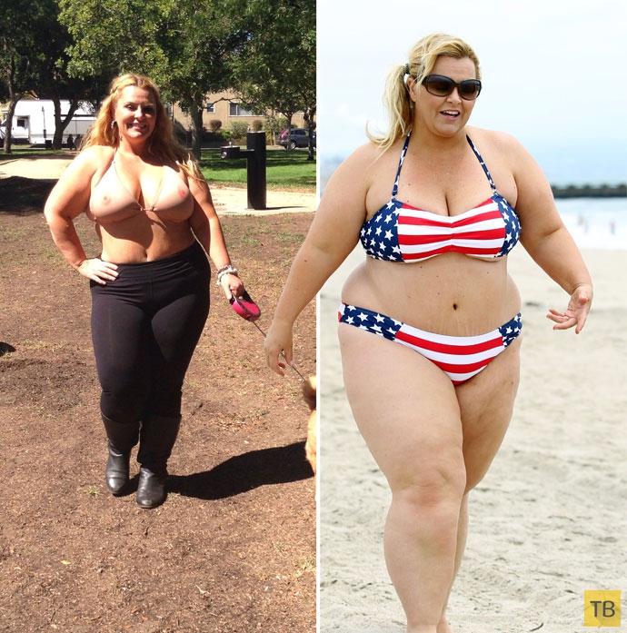 Знаменитая толстушка показала постройневшую фигуру и «голый» купальник (10 фото)