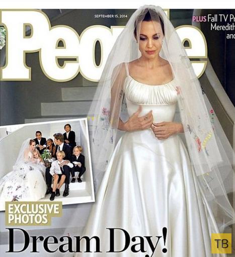 Креативное свадебное платье Анджелины Джоли (2 фото)