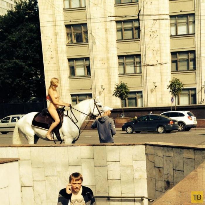 Голая наездница на белой лошади в центре Москвы (4 фото + видео)