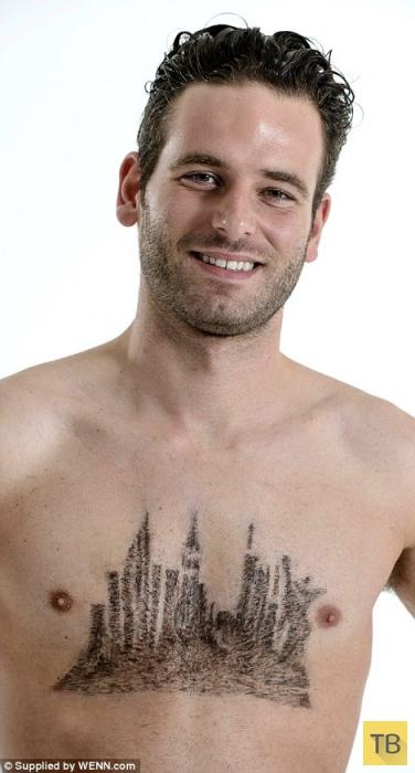Мировые достопримечательности из волос на мужской груди (11 фото)