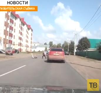 Водитель мопеда сбил школьницу... ДТП на улице Кирова, г. Бирск, Уфимская область