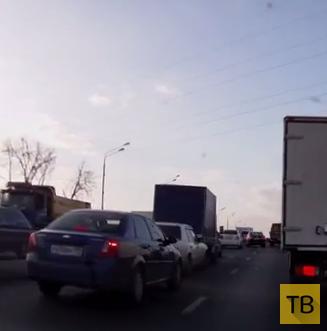 """ДТП """"паровозиком""""... поворот на Шереметьево, г. Москва"""