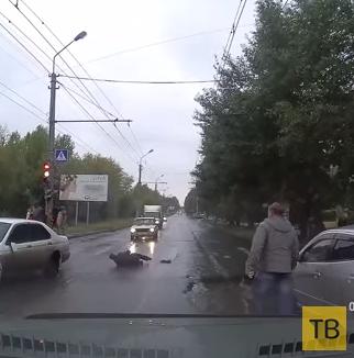 Сбили пешехода... ДТП на ул. Мира, г. Омск