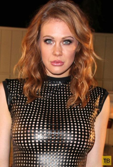 Мейтланд Уорд в супер-дырчатом платье на неделе моды LA в Западном Голливуде (11 фото)
