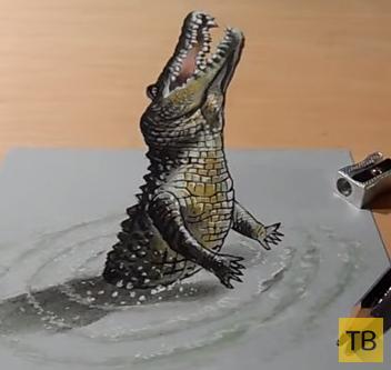 Как нарисовать крокодила в 3D