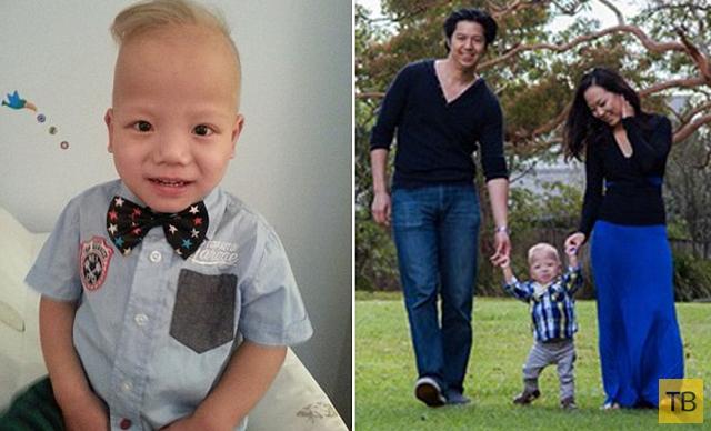 Родители-азиаты и их сын блондин (4 фото)
