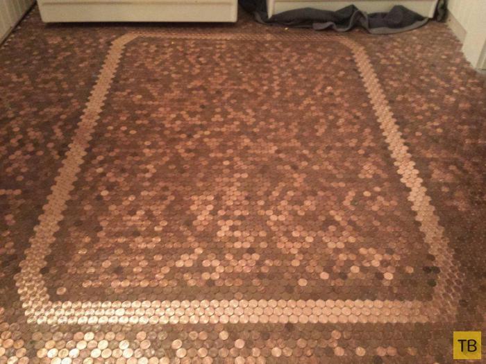Креатив для дома: пол из монет (14 фото)