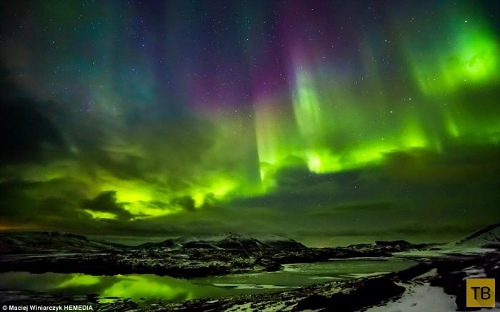 Северное сияние в небе Исландии (7 фото)