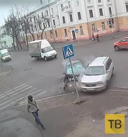 Пешеходу повезло... ДТП на пересечении проспектов Мира-Октябрьский, г. Саров